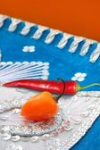 Mexican hot chili peppers in hat habanero and red — Stock Photo