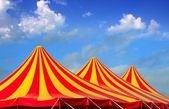 Circus tent red orange and yellow stripped pattern — Stock Photo
