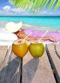 Playa de cocos mujer sol bronceado tópico — Foto de Stock