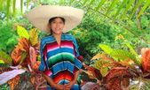 Latin mexican hispanic sombrero poncho woman — Stock Photo