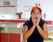 Beautiful Latin teen hispanic girl cap surprise gesture — Stock Photo
