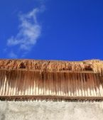 Palapa sunroof detail wooden sticks wal — Stock Photo