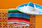 Charro mariachi blue mexican hat serape poncho — Stock Photo