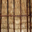 Dried palm tree leaves palapa roof and beams — Stock Photo