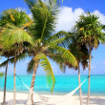 Caribbean sea with swing hammock turquoise beach — Stock Photo