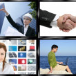 Black frame television multiple screen wall — Stock Photo #5494788