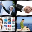 Black frame television multiple screen wall — Stock Photo
