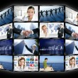 图库照片: Black frame television multiple screen wall