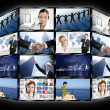 Foto Stock: Black frame television multiple screen wall