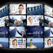 Черная рамка телевидения несколько экран стены — Стоковое фото