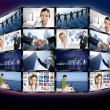 Photo: Futuristic tv video news digital screen wall