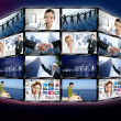 Futuristic tv video news digital screen wall — Stockfoto