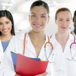 Doctors team group in a row white background — Stok fotoğraf