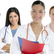 Doctors team group in a row white background — Stock fotografie #5494874