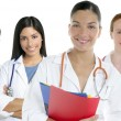Foto Stock: Doctors team group in a row white background