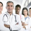Expertise doctor multiracial nurse team row — 图库照片