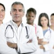 Stock Photo: Expertise doctor multiracial nurse team row