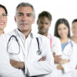 Foto Stock: Expertise doctor multiracial nurse team row