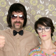 Nerd silly couple retro man woman ok hand sign — Foto Stock