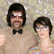 Nerd silly couple retro man woman ok hand sign — Lizenzfreies Foto