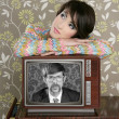 Retro woman in love with tv nerd hero — Stock fotografie