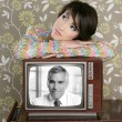 Retro woman in love with tv senior handsome hero — Stockfoto