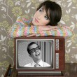Retro woman in love with tv nerd hero — Stock Photo