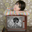 Retro woman in love with tv nerd hero — Stock Photo #5494914