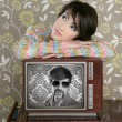 Retro woman in love with tv nerd hero — Stockfoto