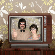 Wood old tv nerd silly couple retro man woman — Stock Photo