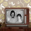 Wood old tv nerd silly couple retro man woman — Foto de Stock