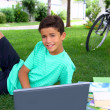 Boy teenager homework studying sitting garden — Stock Photo #5494982