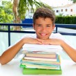 Boy student teenager happy thinking with books — Stock Photo #5495021