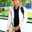 Boy student teenager backpack holding books - Stok fotoğraf