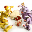 Royalty-Free Stock Photo: Handmade hungry plasticine dogs, meat to eat