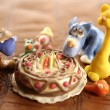 Toy plasticine happy birthday cake over white — Stock Photo #5495142