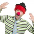 Clown redhead wig happy funny gesture - Stock Photo