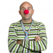 Actor clown posing clown nose and tie — Stockfoto #5495182