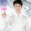 Futuristic businesswoman office finger touch pad — Stock Photo #5495210