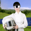 Futuristic spaceship aircraft astronaut helmet woman — Stock Photo #5495259