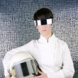 Futuristic spaceship aircraft helmet astronaut woman — Stock Photo