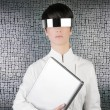 图库照片: Futuristic businesswomlaptop silver future glasses