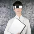 Futuristic businesswoman laptop silver future glasses — Stock Photo