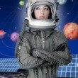 Astronaut spaceship aircraft helmet fashion woman — Stock Photo #5495307