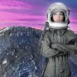 Astronaut spaceship aircraft helmet fashion woman — Stock Photo #5495311
