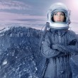Astronaut woman futuristic moon space planets — Foto de Stock