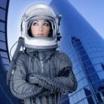flygplan astronaut rymdskepp hjälm kvinna mode — Stockfoto #5495313