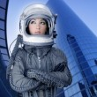 Stock Photo: Aircraft astronaut spaceship helmet womfashion