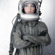 Astronaut spaceship aircraft helmet fashion woman — Stock Photo #5495314