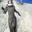 Astronaut fashion stand woman space suit helmet — Stock Photo #5495319